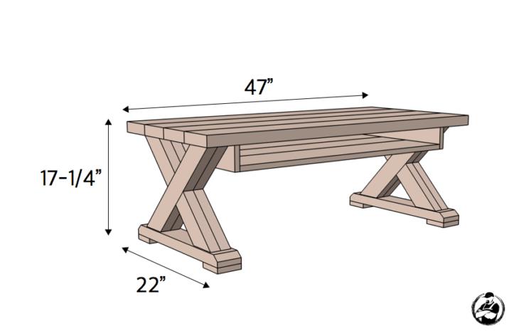 x leg coffee table w shelf rogue