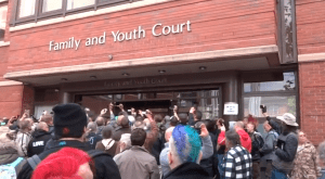 MAY DAY 2015, NOTTINGHAM COURT:  CAMERAS ARE THE NEW PITCHFORKS.