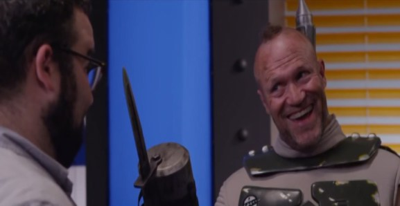 This is unfortunately the only wide shot of the knife hand we made for Michael Rooker. we also made the Squirt Gun Drone (all the way to the right in this shot).