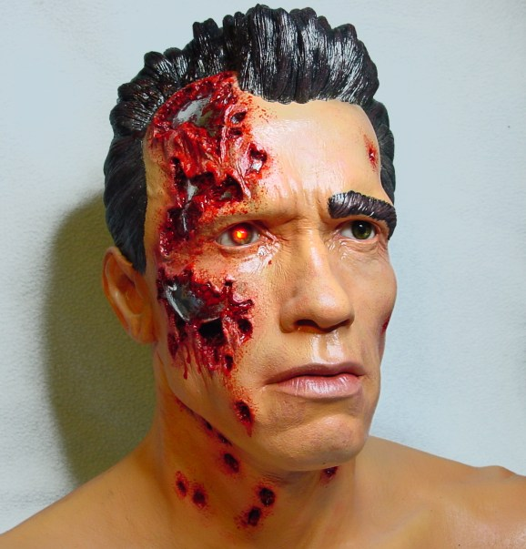 Full-sized Arnold Schwarzenegger, Terminator 2, inspired head. Made of urethane, for a hard-core Terminator collector; with working electronics.