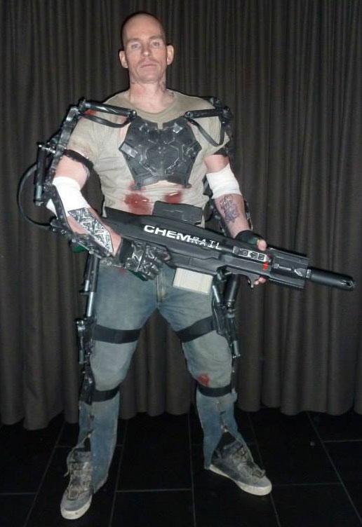 Test fitting of the Elysium exoskeleton.
