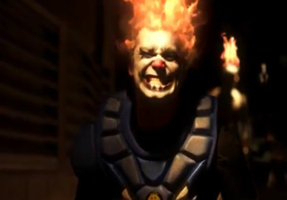 Clowning around in a Twisted Metal X promotional spot for Sony Playstation.