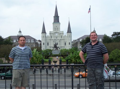 Greg Bellefontaine and Nick Kulnies of Roguetrippers in front of St Louis Cathedral at Jackson Square in New Orleans.