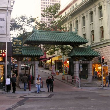 Gateway to China Town in San Francisco can be found on Grant Avenue and Bush Street.