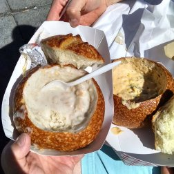 Clam chowder and Seafood chowder in Sourdough Bread bowl on Fishermans Wharf in San Francisco in July 2016.