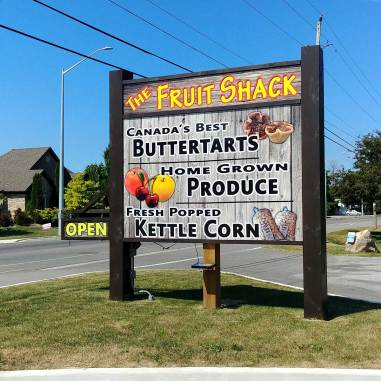 The Fruit Shack in Niagara on the Lake is a great place to get fresh produce, and buttertarts.