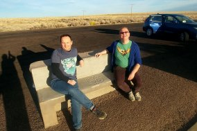 Roguetrippers visited the Petrified forest National Park on a road trip in their Nissan Rogue.