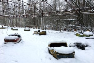 Pripyat Bumper cars at the amusement park in Chernobyl