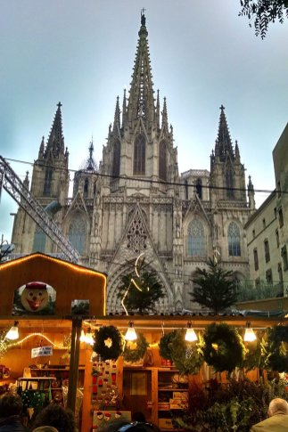 Christmas market at Cathedral Barcelona gothic quarter