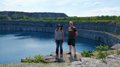 Heather Parsons and Nick Kulnies -roguetrippers visit Marmora Mine Lake