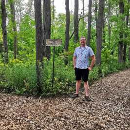 Nick Kulnies of Roguetrippers enjoys the Nature trails at Forest Motel