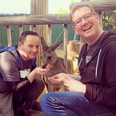 Greg Bellefontaine & Nick Kulnies feeding the animals at Busch Gardens Tampa