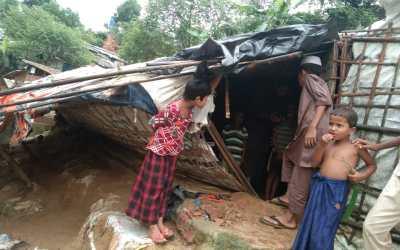 Refugee hut damaged in heavy wind and rain In Bangladesh refugee camp