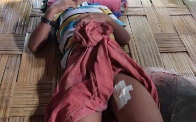 Arms shells fallen in a Rohingya house in Minbya