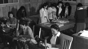 Japanese American women sewing at Rohwer camp