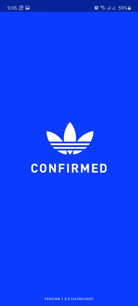 Screenshot of Adidas Confirmed
