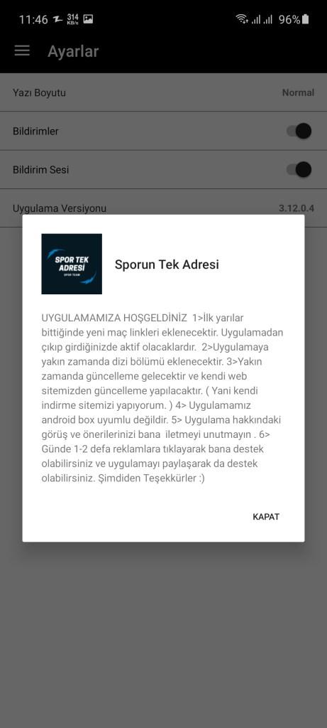 Screenshot of Sporun Tek Adresi
