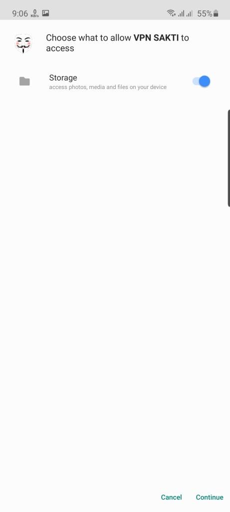 Screenshot of VPN SAKTI