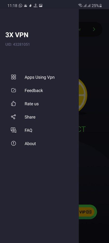 Screenshot of 3X VPN App