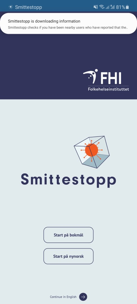 Screenshot of Smittestopp Apk