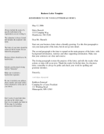 Business Letter Template 7