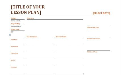 Daily Lesson Plan Template 1