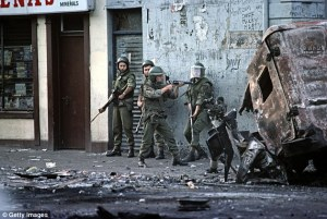 Photo of soldiers in a warzone