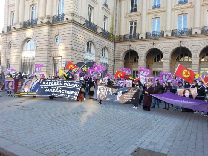 Le Conseil démocratique kurde de Rennes (CDK-R), Zin 35 (association des femmes kurdes de Rennes) et les Amitiés kurdes de Bretagne avaient appelé à défendre la solidarité et la justice au cours d'une manifestation à Rennes le samedi 9 janvier pour demander Vérité & Justice pour Sakine, Rojbîn et Leyla, militantes kurdes assassinées à Paris le 9 janvier 2013.