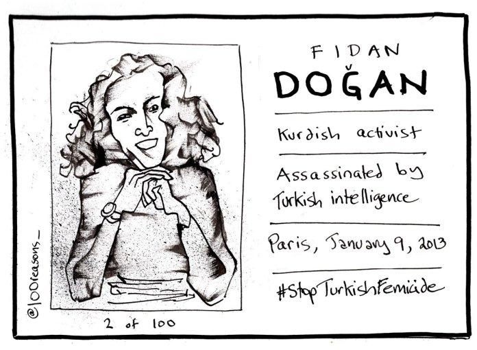 L'assassinat à Paris de la militante kurde Fidan Dogan est un des crimes recensés par la campagne «100 raisons pour juger le dictateur Erdogan»