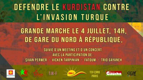 Le Congrès des Sociétés démocratiques kurdes en Europe (KCDK-E) appelle à une grande mobilisation à travers l'Europe, les 3 et 4 juillet, pour «défendre le Kurdistan contre l'invasion turque».
