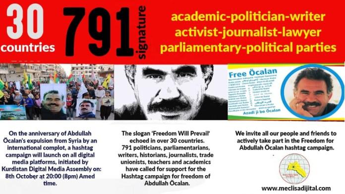 Lancée par l'Assemblée des Médias numériques du Kurdistan, une campagne hashtag pour la libération d'Abdullah Öcalan a lieu ce vendredi soir.