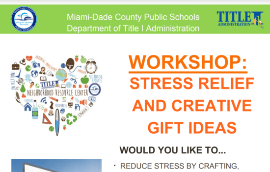 Title 1 WORKSHOP:  Stress Relief and Creative Gift Ideas