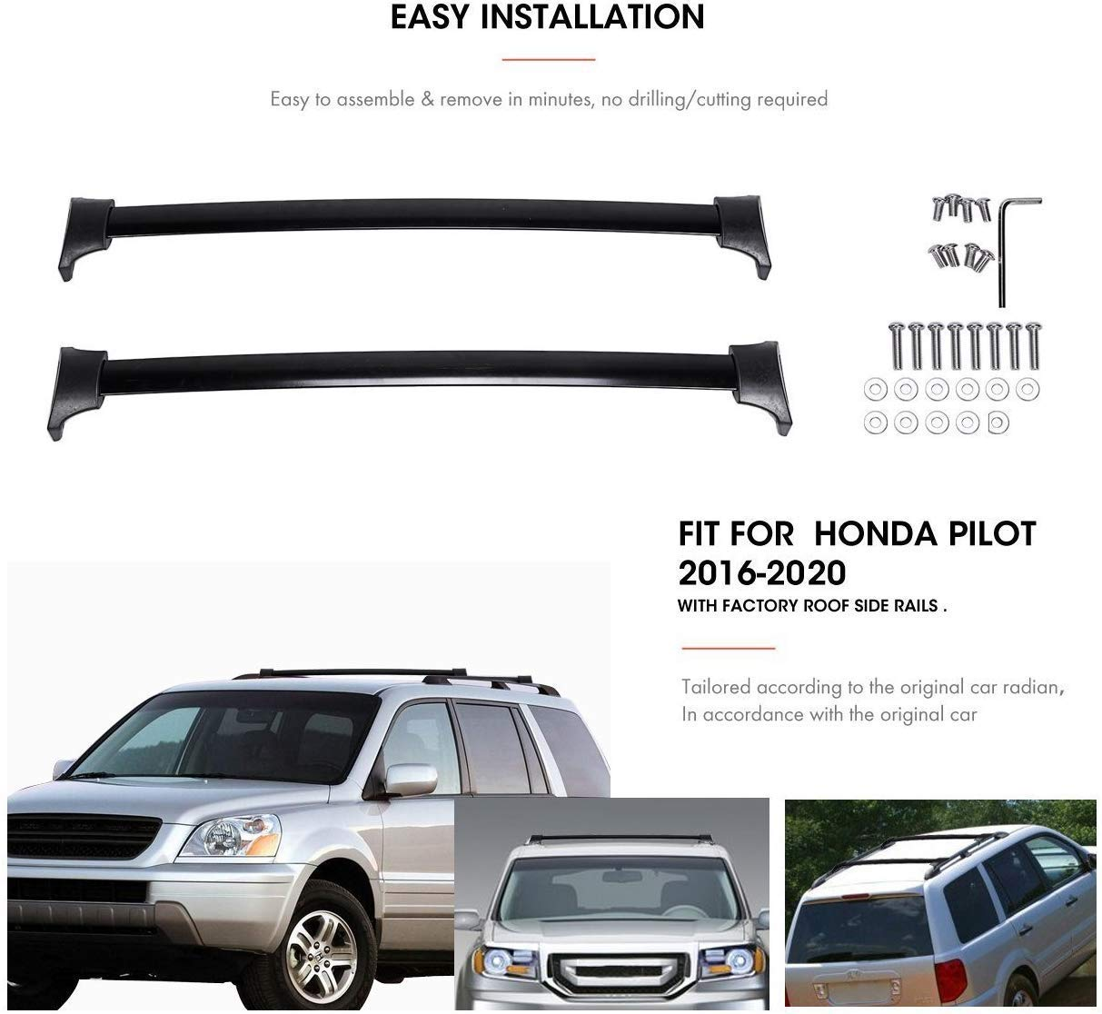 For For 2016-2018 Honda Pilot Silver Roof Rack Cross Bars Luggage Cargo Carrier