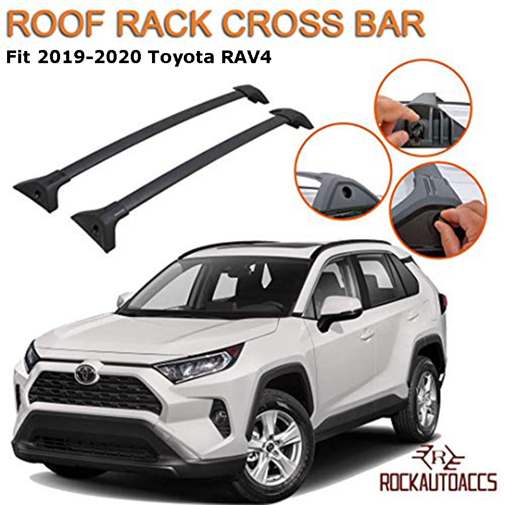 rokiotoex roof rack crossbars fit 2019 2021 toyota rav4 and rav4 hybrid not trail flush roof rail aluminum black