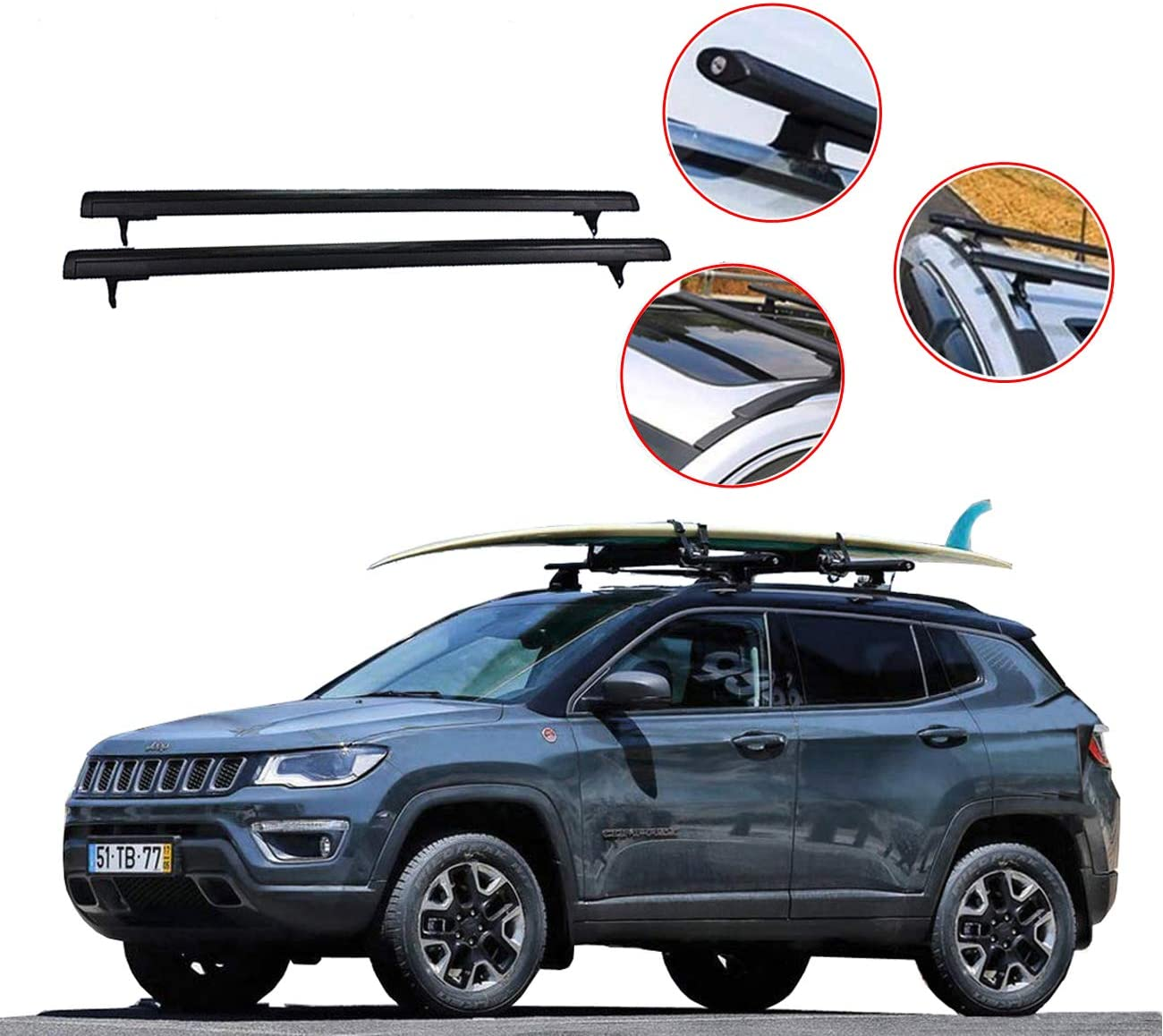 rokiotoex roof rack crossbars roof rail cross bars fit 2017 2018 2019 2020 2021 jeep compass rooftop side rails cargo bag kayak luggage carriers