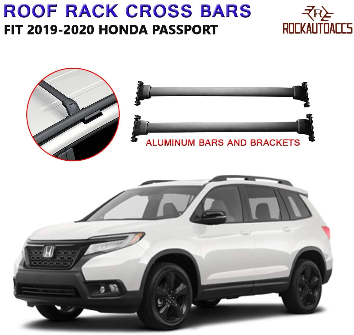 Lequer Stainless Steel Cross Bars Crossbars Fits for Honda Acura MDX 2014-2019 Holder Baggage Carrier Luggage Roof Rack Rail