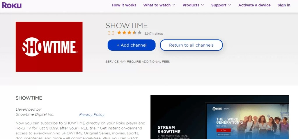 Add SHOWTIME to Roku