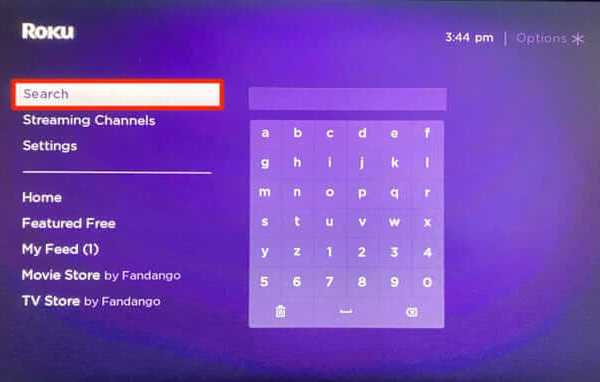 Click Search Channels  AT&T TV on Roku