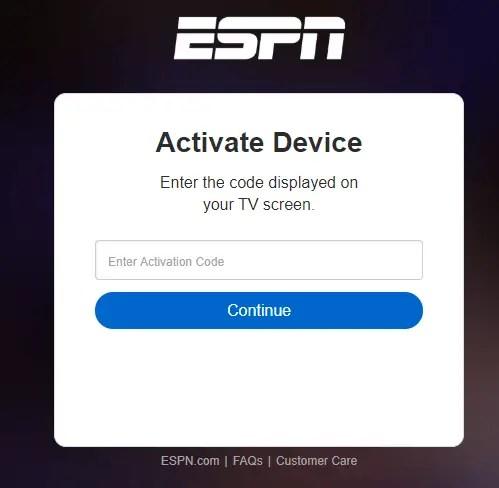 Enter ESPN Activation code