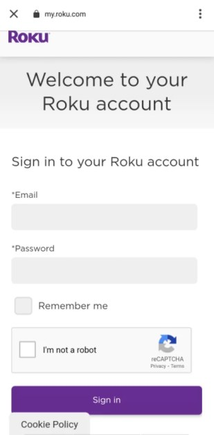Sign in with Roku account