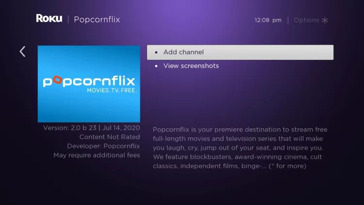 Popcornflix on Roku