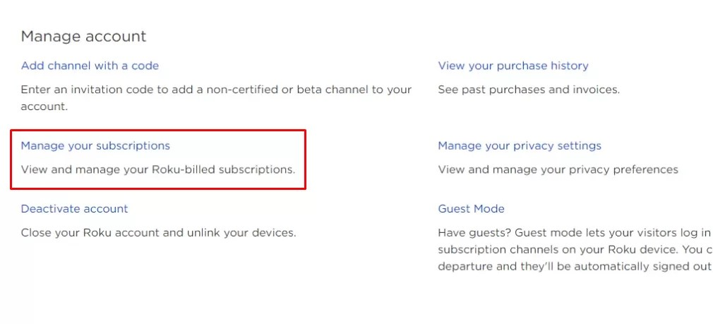 Click Manage your subscriptions - Cancel Acorn TV on Roku