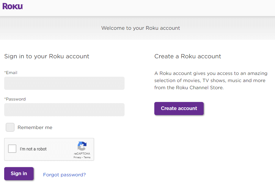 Sign in to your Roku account