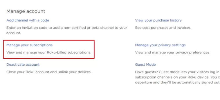 Select Manage your subscriptions - Cancel Sling TV on Roku