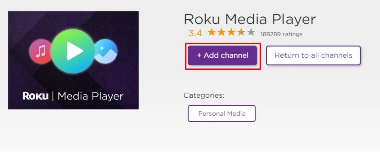 Select Add Channel to get Roku Media player