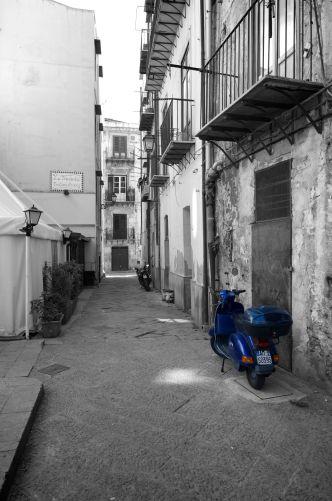 A lone Vespa