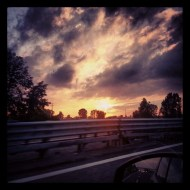 Sunset on a highway