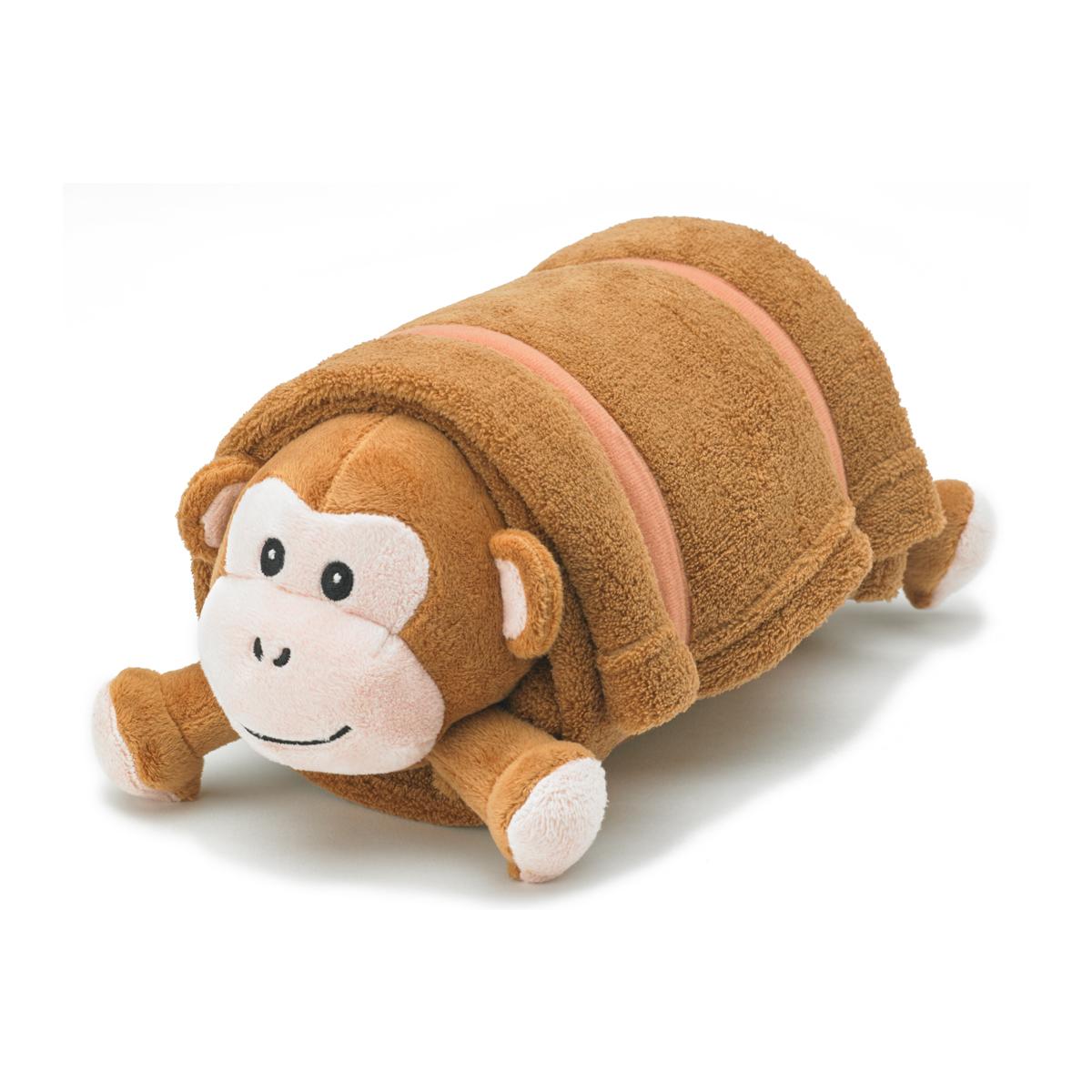 brown monkey plush pet pillow with blanket