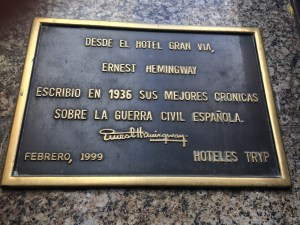 Ernest Hemingway in Madrid at the Hotel Trypt Gran VIa