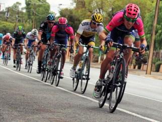 The peloton flying through Willunga